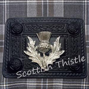 ST Thistle Heritage Kilt Belt Buckle Celtic Black Finish/Scottish Buckles Chrome
