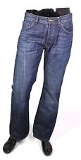 GJ8-64 H&M Logg Herren Jeans W34 L32 Denim blau straight regular Button Fly