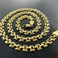 NECKLACE PENDANT CHAIN REAL 18K YELLOW G/F GOLD SOLID ITALIAN LINK DESIGN