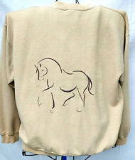 BEDAZZELED HORSE SILHOUETTE LINE DRAWING LG FLEECE SWEATSHIRT TAN EQUINE