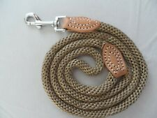 TOP QUALITY ROPE DOG LEAD  WITH LEATHER FITTINGS.