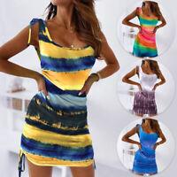 Womens Summer Tie Dye Bodycon Mini Dress Party Cocktail Holiday Beach Sundress