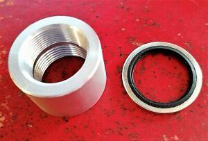 """3/4"""" BSP/1""""UNEF Aluminum  collar for welding to manifolds, sumps etc plus seal"""