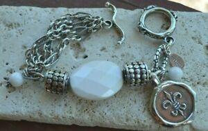 SCHAEF DESIGNS by Bobby Schaefer .925 Silver / White Opal Quartz Bracelet