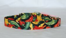 """1"""" Small (whippet) Martingale Dog Collar Chili Peppers on Black"""