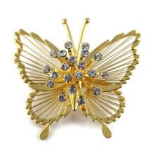 Vtg MONET Butterfly Brooch Pin Gold Tone Clear Rhinestone Spinnerette