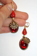 Vintage deco set Ruby red glitter glass nouveau shell scroll artisan earrings