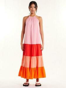 Never Fully Dressed Sunrise Midi Dress - Pink Coral Red Size 20 BNWT RRP £79