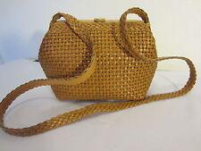 TALBOTS Saddle Tan Woven LEATHER SATCHEL Shoulder Handbag Purse