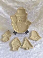 "Superstone Sassafras 5 Cookie Molds - 12"" Snowman 6"" Bell Santa Tree Gingerbread"