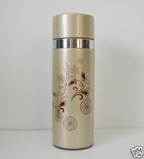 Starbucks 2009 Coffee Tea Thermos Paisley Travel Work 10 oz Clay Lined Gold