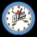 """19"""" Labatt Blue Beer Sign Double Neon Clock Blue Neon Color Beer Man Cave Bar"""