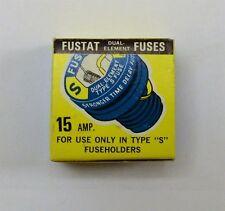 New Fustat Dual Element Fuses, 15 Amp., S Type, Box of 4, NOS.