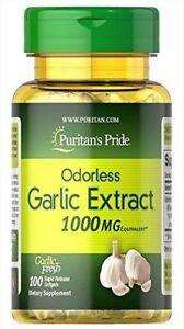 PURITANS PRIDE ODORLESS GARLIC  EXTRACT  1000mg 100 gels