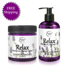 Relax Bundle - Massage Oil & Lotion - All Natural - with Lavender & Peppermint