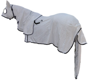 Poly Cotton Ripstop Breathable Summer Horse Combo Rug Set with Hood & Tail