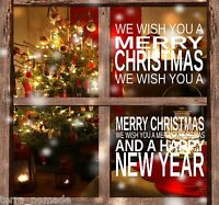 Merry Christmas Happy New Year Windows Art Wall Stickers Decal Xmas Decoration