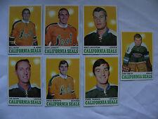 1970-71 Topps Hockey 7 California Oakland Seals card #'s 69-70-71-73-74-75-76