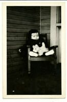 Vtg Postcard Photo RPPC Baby Infant Outside Coat Hat Porch Chair Toy Dog or Cat