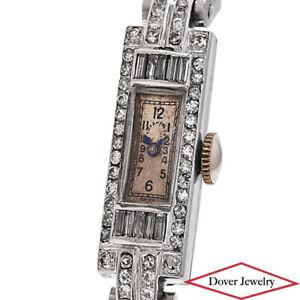 Antique Deco Tiffany & Co Diamond Platinum Ladies' Cocktail Bracelet Watch NR