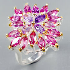 Handmade Natural Rhodolite 925 Sterling Silver Ring Size 6.5/R123021