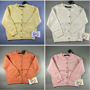 NEW girls george pointelle button kids cardigan cardi stretch cotton baby 1-6 yr