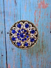 Set 6 Gorgeous Gold Silver Sapphire Blue Jeweled Cabinet Drawer Knob PullS