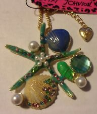 Betsey Johnson Ocean Colors Crystal Shell Starfish Pendant Necklace NIP