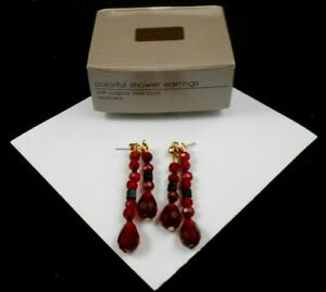 LOVELY AVON COLORFUL SHOWER PIERCED EARRINGS WITH SURGICAL STEEL POSTS NOS