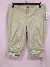 INC International Concepts Plus Size Ruched Cargo Cropped Pants Plus Size18W Nwt