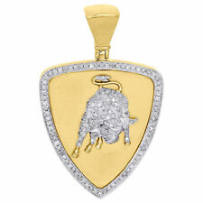10K Yellow Gold Fn Diamond Medallion Lamborghini Bull Pendant Pave Charm 0.88 Ct