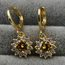 18K Yellow Gold Filled - Citrine Topaz Sunflowe Party Gemstone Earrings 2.6CM