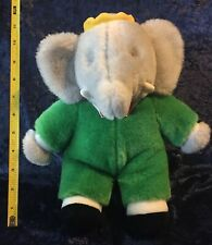 "1988 BABAR The Elephant 11"" Plush GUND Stuffed Animal Figure Green Suit 80s Vtg"