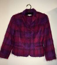 Henri Bendel N.Y. Women's Mohair Wool Blazer Pink , Purple & Black Plaid Size M