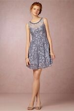 "NWOT$300 Yoana Baraschi Anthropologie "" Hydrangea"" lace dress, blue, size 6, S"