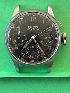 No Reserve BENRUS SKYCHIEF chrono BE11 Original Dial Great Case restore/repair
