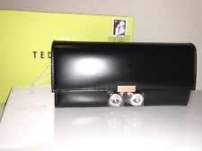 Ted Baker Crystal Bobble Lock Black Matinee Envelope Foldover Wallet $185