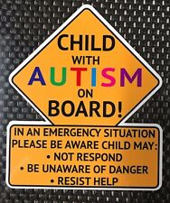 Child with Autism on Board (Cation Sign) Vinyl Decal Sticker FREE SHIPPING