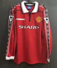 Manchester united 1998 Beckham #7 long sleeves jersey