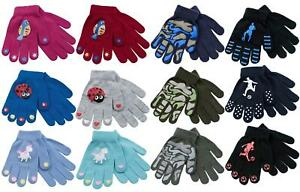 2 Pairs Boys Girls Kids Childrens Grip Gripper Warm Thermal Stretch Magic Gloves
