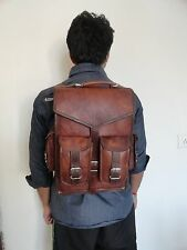 Vintage Men's Leather Backpack Bags Shoulder Briefcase Rucksack Brown Laptop Bag
