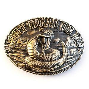 Don't Tread on Me belt buckle, Historical American flag, solid brass belt buckle