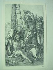 Albrecht DURER VINTAGE incisione su rame su Cristo morto-PASSIONE N. 12