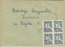 "Poland ""GROSZY OVERPRINT"" onSc#477(block of 4) GRABOWNO WIELKIE 1951 to Warsaw"