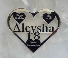 GRANDDAUGHTER 18TH BIRTHDAY GIFT PERSONALISED WITH NAME ALEYSHA,  BIRTH DATE,