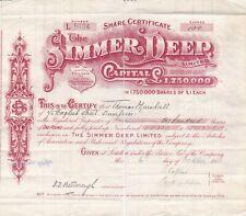 South  Africa Transvaal 1908 Simmer Deep Gold Mine Share Certificate