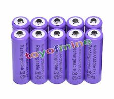 10x Aa 3000mAh 2A 1.2 V Ni-Mhpurple Rechargeable Battery Cell for Mp3 Rc Toys