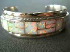 R&G BOOGA Native American Zuni Grown Opal Channel Inlay Sterling Silver Bracelet