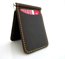 Men's Natural Leather Magnetic Card Case Wallet 4 Slots 2 Slip Pockets Bifold uk