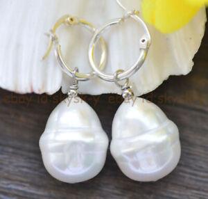 Huge 20mm White South Sea Baroque Shell Pearl Dangle Silver Leverback Earrings